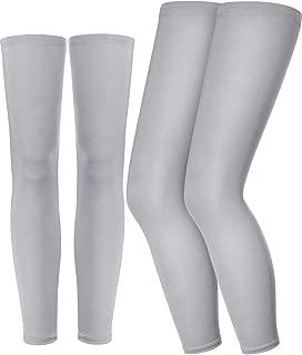Leg Sleeves Compression Full Leg Long Sleeves with Knee Support, Non-slip Inner Bands for Men Women