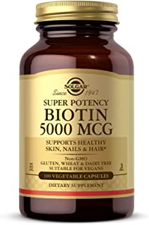 Solgar Biotin 5000 mcg, 100 Veg Caps - Promote Healthy Skin, Nails & Hair - Supports Energy Production, Protein, Carbohydr...