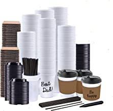Jumbo Value Set of 130 Coffee Disposable Paper Hot Cups with Travel Leak Proof Lids, Heat Resistant Sleeves and Stirrers -12OZ White Premium Starbucks Quality The Best Value on Amazon