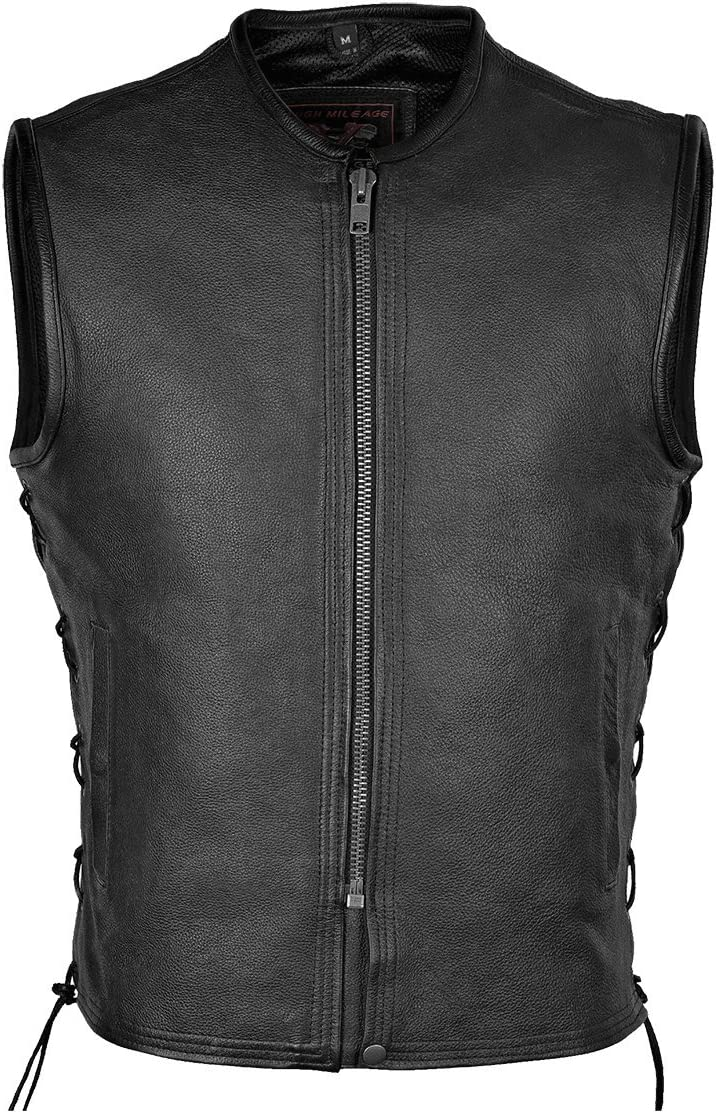 Vance Leather Men's Naked Leather Premium Vest with Lace Sides