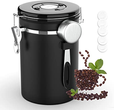 Stainless Steel Coffee Canister Kitchen Storage Airtight Jars Containers with Spoons Anti Rust Food Canisters with Date Tracker Beans Sugar tea 22OZ (Black, 22OZ)