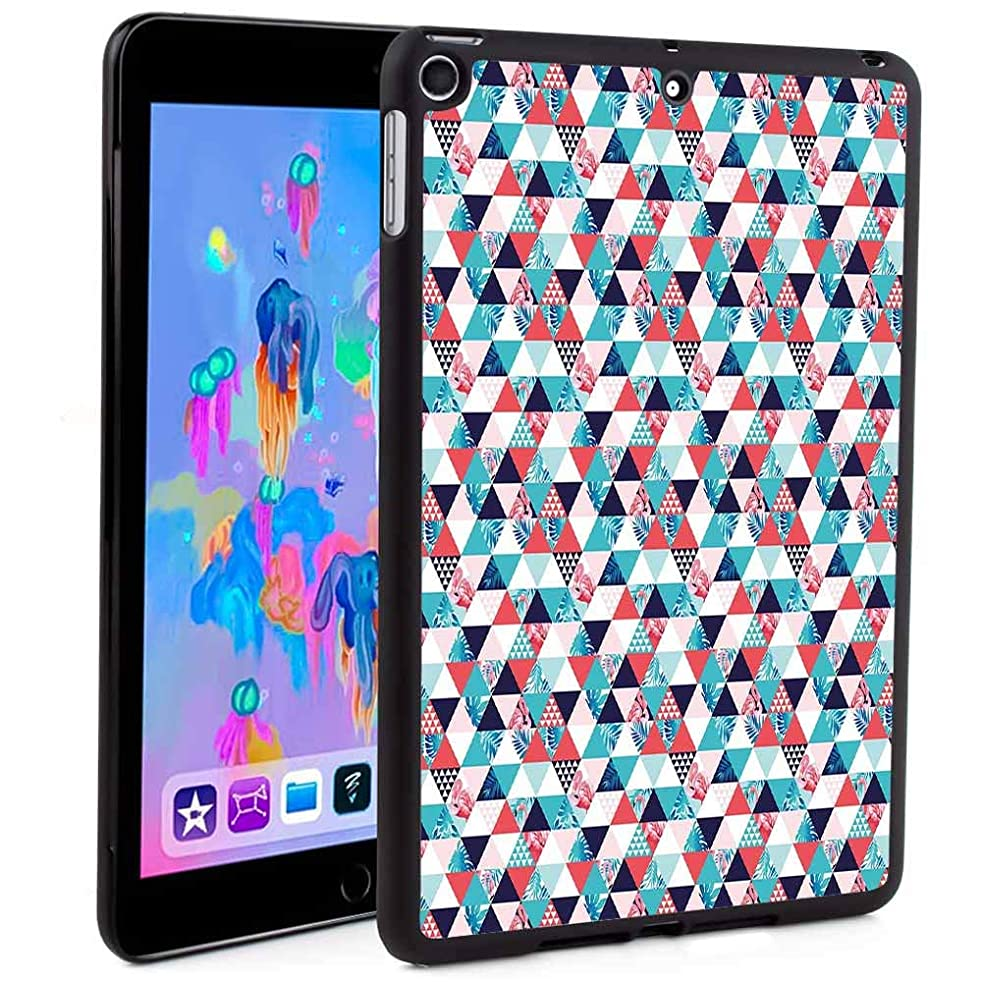 iPad Mini 5 Case Clear with Design,Horizontal Triangles Geometrical Frames with Exotic Beach Elements Mosaic Design Print Wake up Smart Cover for iPad Mini 7.9