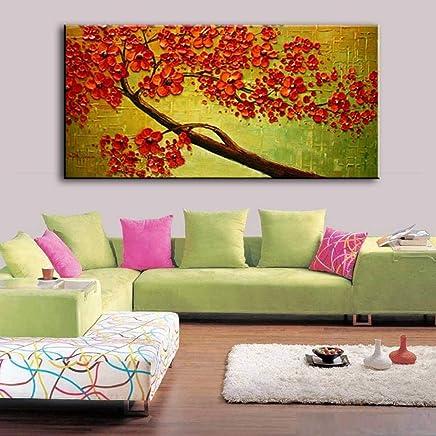XIANRENGE Pure Peint À La Main Peinture À Lu0027huile,Palette Épaisse Rouge  Fleur