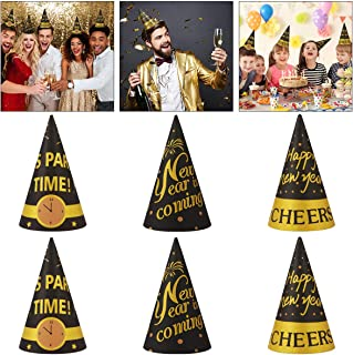 Amosfun 9PCS Happy New Year Hats Paper Cone Hat New Years Eve Party Supplies