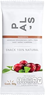 PAL'S Snacks barra de energía 100% natural y proteína, Vegana, sabor Arándano, 50 gr, 6 barras