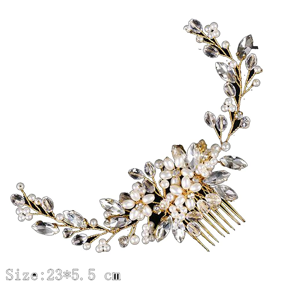 Bridal Hair Accessories Tiara Wedding Hair Comb Clip Flower Women Wedding Hair Jewelry Headband Pearl Headpiece,Golden