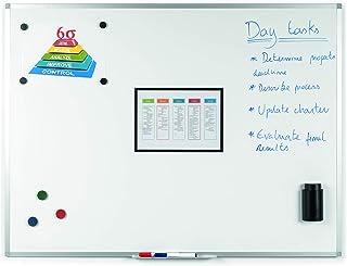 BoardsPlus - Tableau Blanc Magnétique, 105 x 75 cm, avec cadre en aluminium et porte-marqueurs