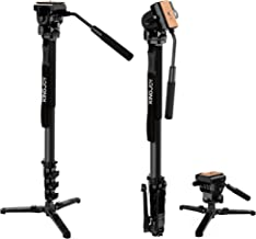 KINGJOY Camera Monopod Kit, 69 inch Aluminum Video Monopods with Pan Tilt Fluid Head and Removable Tripod Feet for DSLR Camcorders, MP3008F+VT-1510
