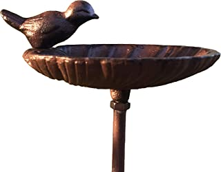 WHW Whole House Worlds Scallop Shell Garden Stake, Bird Feeder, Cast Iron, 3 Feet 2 1/2 Inches Tall, Rustic Garden Decoration