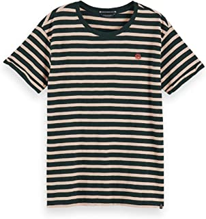 Scotch & Soda Organic Easy Stripe Tee with Chest Embroidery T-Shirt Donna