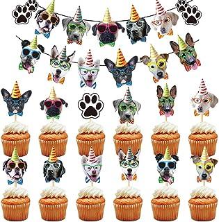 BESTZY 25PCS Animal Cake Toppers Decoraciones Perro Temas Decoración Fiesta Cumpleaños Temáticas Baby Shower Party Favor Suministros para Niños Cumpleaños
