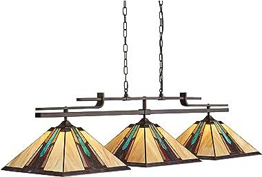 "Pirro Bronze Metal Large Linear Pendant 56"" Wide Industrial Tiffany Style Ranier Art Glass Shades 3-Light Fixture Decor f"