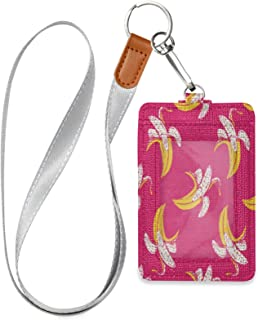 HMZXZ Porte-badge d'identification en forme de banane avec cordon détachable en cuir synthétique pour femme, homme, enseig...
