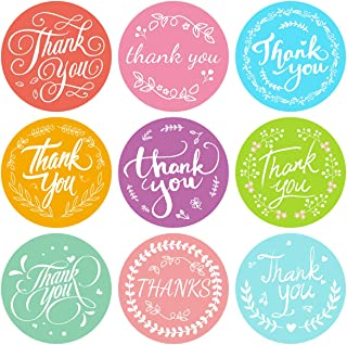 500 PCS Colorful Thank You Stickers 9 Design Small Business Sticker Labels for Birthday Baby Shower Celebration Wedding Pa...