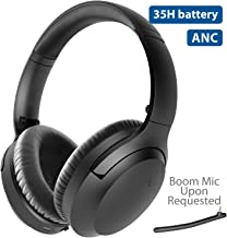 2020 Avantree Aria Bluetooth Active Noise Cancelling Headphones with Mic, Good Sound, Replaceable Ear Pads, Spacious, 35H Wireless Wired ANC Over Ear Headset for Airplane Travel