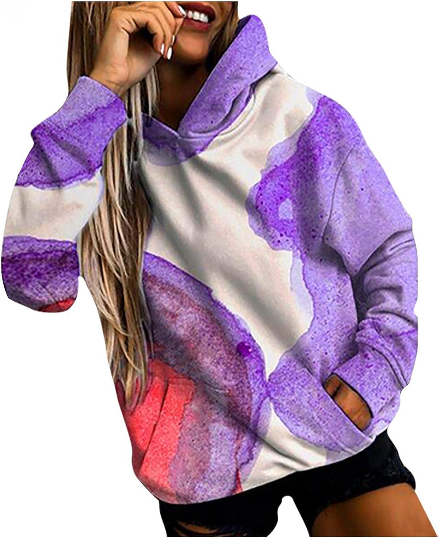 Tie Dye Sweatshirts for Women Oversized Hoodies Long Sleeve Blouse With Pocket Winter Trendy Tunic