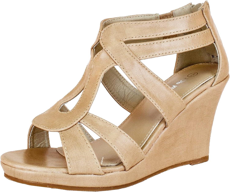 Top Moda Womens Job-8 Gladiator Round Peep Toe Platform Sandals Ankle Strappy Wedge Heel