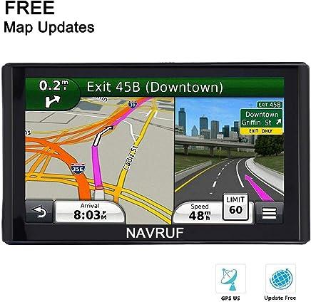 NAVRUF Navegación GPS para coche Spoken Turn a Turn Alerta de Tráfico de 7 pulgadas integrado 8GB Navegador GPS, con parasol y actualizaciones de mapas de por vida (negro)