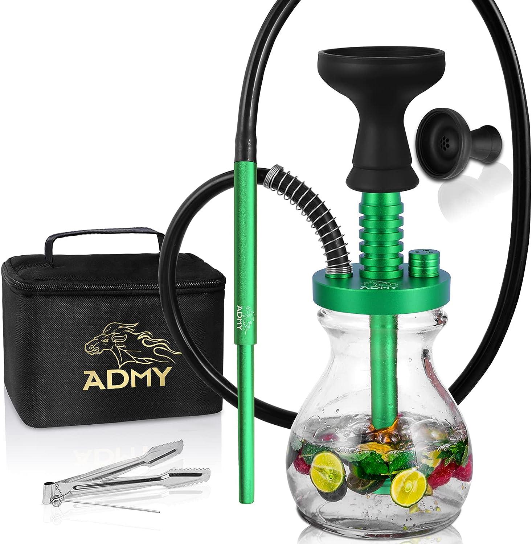ADMY Mini Shisha Set pequeño Hookah completo de aluminio, 33 cm, paquete para cachimba para llevar, boquilla de silicona, cuenco de cristal, difusor de tubo de inmersión, bolsa de viaje (verde)