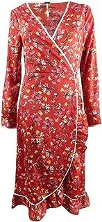 Womens Floral Ruffled Wrap Dress