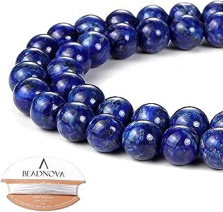 BEADNOVA 8mm Blue Lapis Lazuli Gemstone Round Loose Beads for Jewelry Making (45-48pcs)