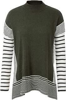 GRACE KARIN Women's Striped Oversize Soft Knit Cape Sweater Mock Neck Pullovers