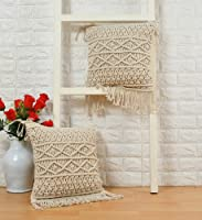 pepme Cotton Macrame Pillow Cushion Cover with Side Tassels Hand-Woven Knitted, Diamond, Chain case for Living Room,...