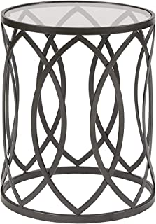 Madison Park Arlo Accent Tables For Living Room, Glass Top Hollow Round, Small Metal Frame Geometric Eyelet Pattern Luxe Modern Stylish Nightstand Bedroom Furniture, Black