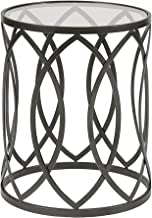 Madison Park MP120-0693 Arlo Accent Tables for Living Room, Glass Top Hollow Round, Small Metal Frame Geometric Eyelet Pattern Luxe Modern Stylish Nightstand Bedroom Furniture, Black