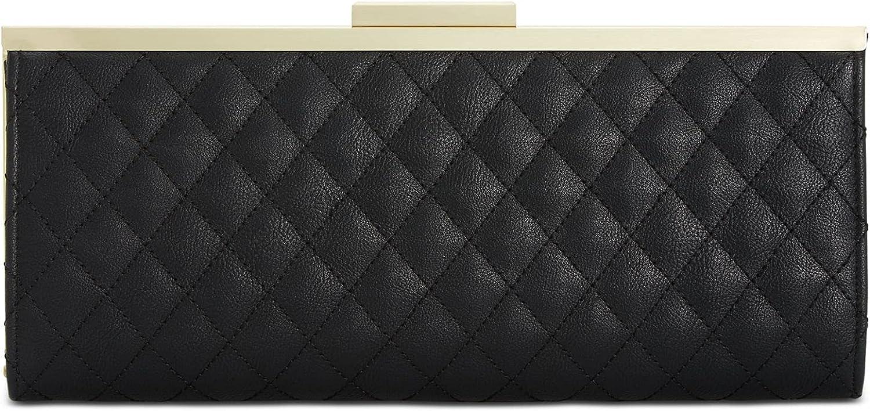 INC Women's Black Faux Leather Geometric Strapless Clutch Handbag Purse