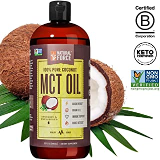 Best Value Premium MCT Oil 32 Ounce, 100% Pure Made from Non-GMO Verified Coconuts - *Best MCT Oil for Weight Loss and Brain Health* BPA Free Bottle | Certified Keto, Paleo, and Vegan by Natural Force