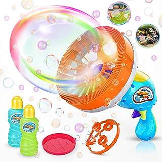 WisToyz Bubble Machine Bubble Blower Giant & Small Bubble Maker with 2 Bubble Wands,..