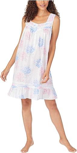 Cotton Swiss Dot Woven Sleeveless Short Nightgown