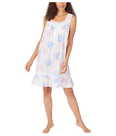 Eileen West Cotton Swiss Dot Woven Sleeveless Short Nightgown (White Ground Blue/Pink Hydrangea Floral) Women