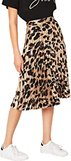 Women's Casual Mid Waist Leopard Print Pleated Satin Midi Skirt