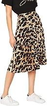 WDIRARA Women's Casual Mid Waist Leopard Print Pleated Satin Midi Skirt