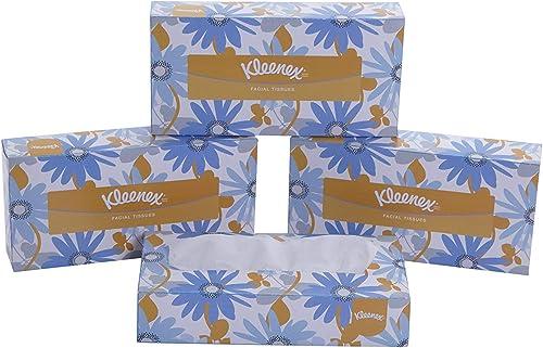 KLEENEX® Facial Tissue Box 60036-2 ply Flat Box Facial Tissue - 4 Tissue Boxes x 100 Face Tissues - Sheet Size 21 x 2...