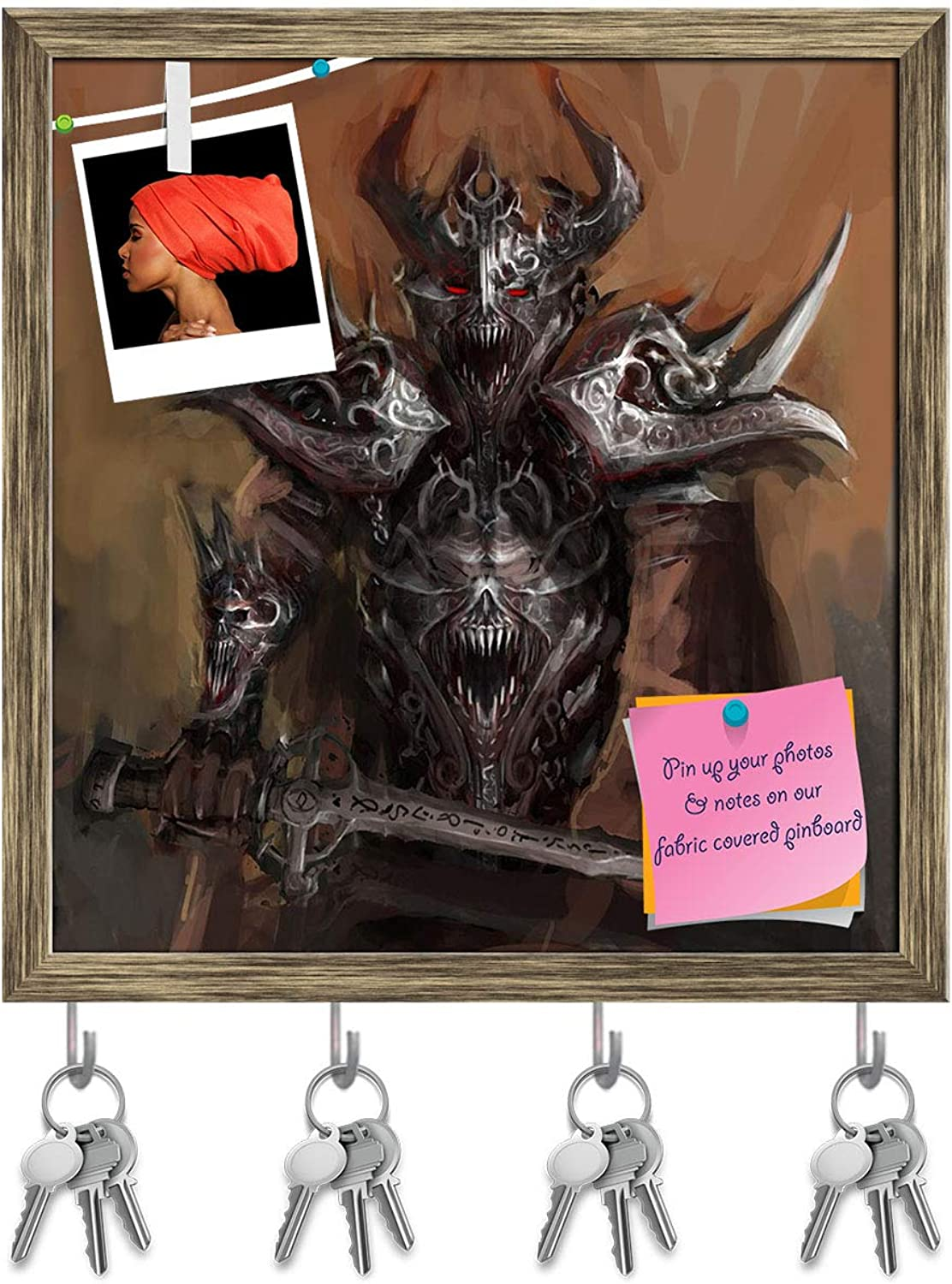 Artzfolio General Leading His Army in War D5 Key Holder Hooks   Notice Pin Board   Antique golden Frame 16 X 16.8Inch