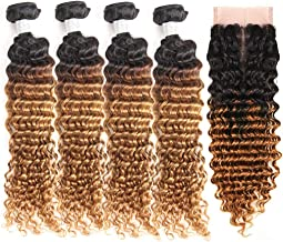 IMAYLI Ombre Brazilian Deep Wave Bundles with Closure Two Tone Deep Wave Human Hair 4 Bundles with Lace Closure(14 16 18 20+12)
