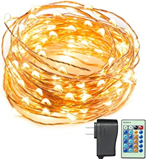 SENYERGIANT Led String Lights, 33 ft 100 LEDs Waterproof Warm White on Copper Wire,Fairy Lights with Remote Control and Power Adapter