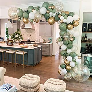 LDFWAYAU Olive Green Balloon Garland Arch Kit DIY Party Decorations White Gold Confetti Balloons Sage Green Balloon and Go...