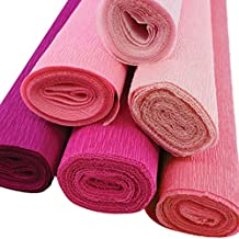 Just Artifacts Premium Crepe Paper Rolls - 8ft Length/20in Width (6pcs, Color: Shades of Pink)