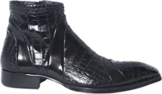 Jo Ghost465M Italian Black Ankle Zip up Boots with Crocodile Print