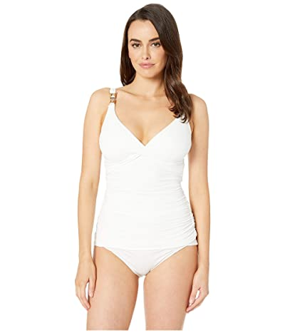 MICHAEL Michael Kors Over the Shoulder Twist Tankini Top with Chain Trim and Removable Soft Cups (White) Women