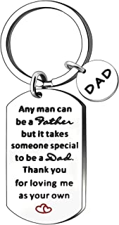 JJIA Dad Gifts, Father's Day Keychain Keyring Key Ring Key Chain Christmas Birthday Thanksgiving Gifts, Silver, Large