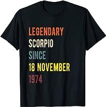 Scorpio Legend Since 18 November 1974 Vintage Retro Birthday T-Shirt