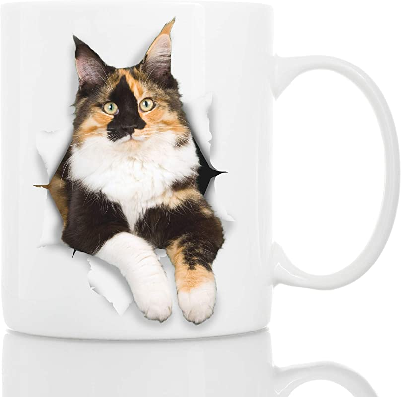 Calico Cat Coffee Mug Ceramic Funny Coffee Mug Perfect Cat Lover Gift Cute Novelty Coffee Mug Present Great Birthday Or Christmas Surprise For Friend Or Coworker Men And Women 11oz