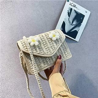 GaitserBY Pragmatic Summer Women Straw Bag Flower Decor Straw Rattan Shoulder Bag Woven Handbag Purse Crossbody Bag Beach Summer Bags