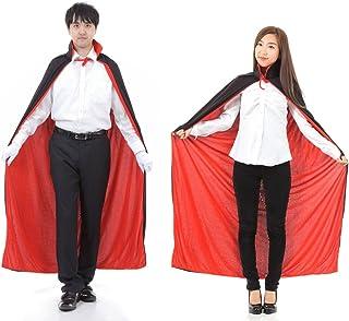 AMARISE マント 黒×赤 リバーシブル 裏表 フード付き フード無し コスプレ 衣装 仮装 フリーサイズ 大人用 メンズ レディース 兼用 (フード無し, ブラック × レッド)