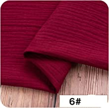 Double Cotton Linen Fabric Soft Baby Cloth Dress Bamboo Crepe slub Clothing DIY Sewing Craft Material 13050cm,Wine red